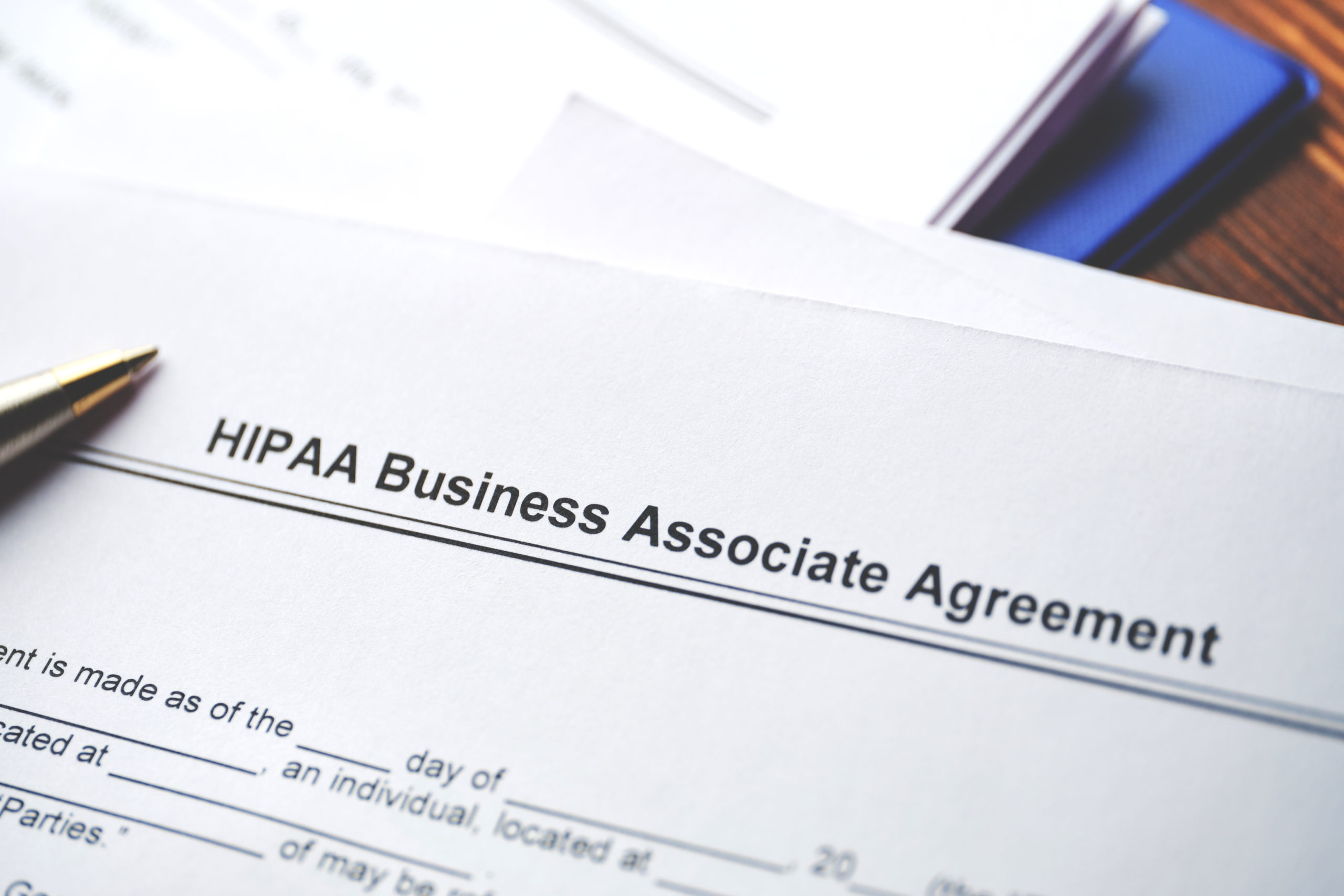 Legal Document Hipaa Business Associate Agreement On Paper Close Up