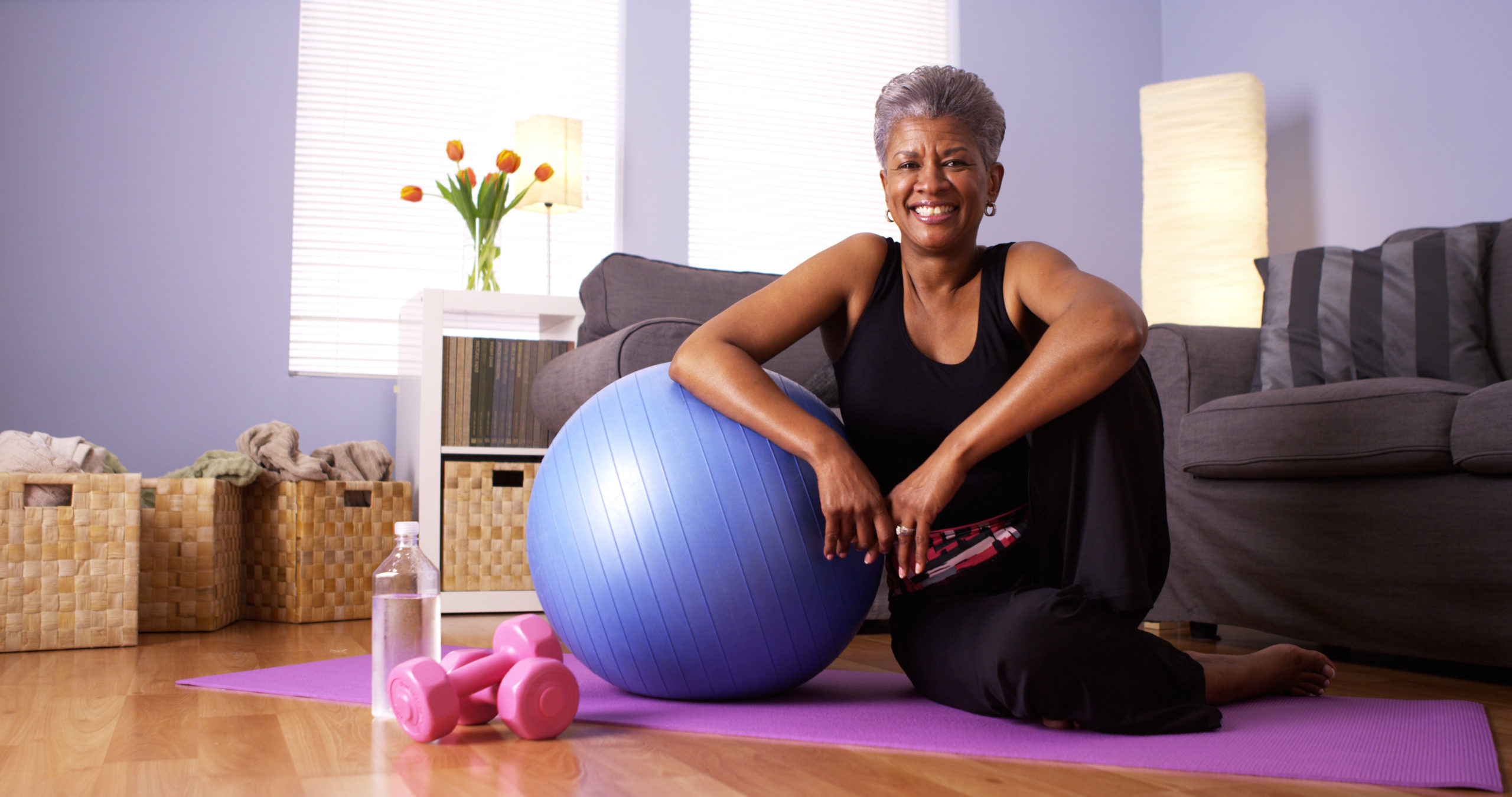 African Grandmother Happy After Working Out