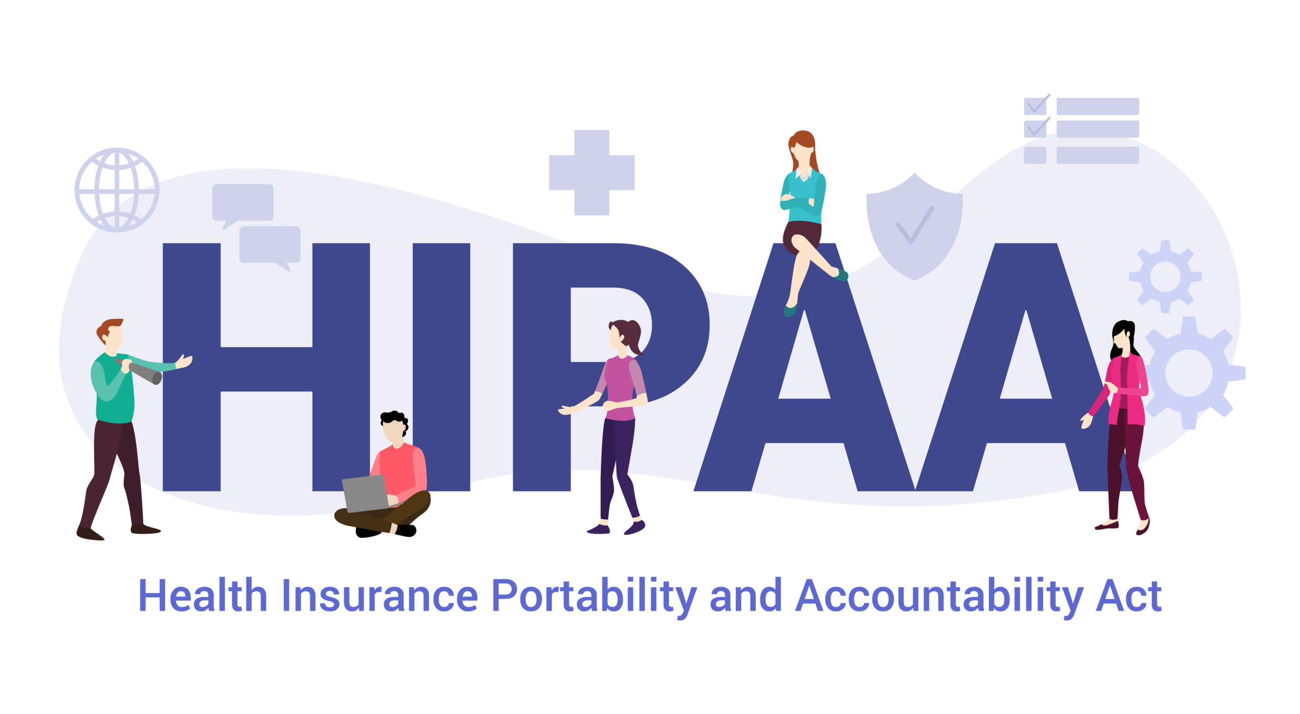 Hipaa Health Insurance Portability And Accountability Act Concept With Big Word Or Text And Team People With Modern Flat Style Vector