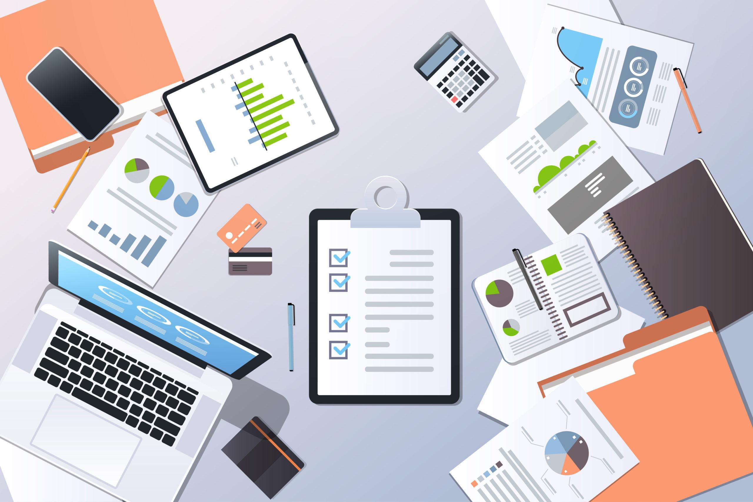 Analysis Financial Graph Business Planning Management Concept Top Angle View Desktop Laptop Smartphone Checklist Paper Documents Report Office Stuff Horizontal