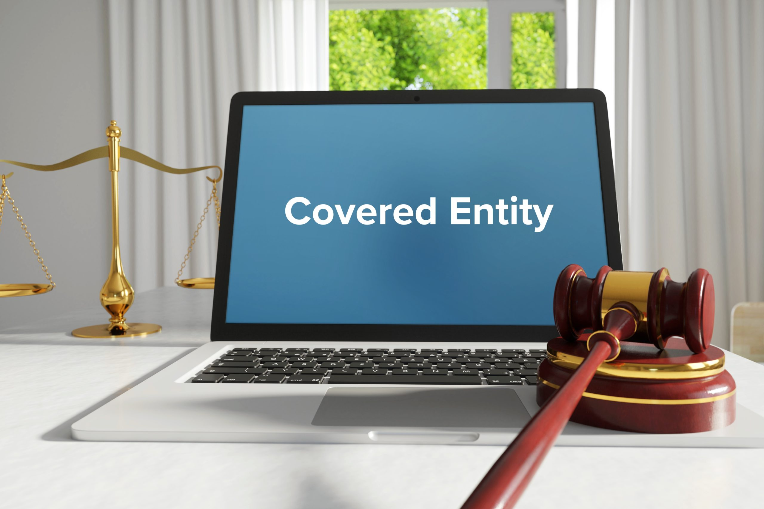Covered Entity – Law, Judgment, Web. Laptop In The Office With Term On The Screen. Hammer, Libra, Lawyer.