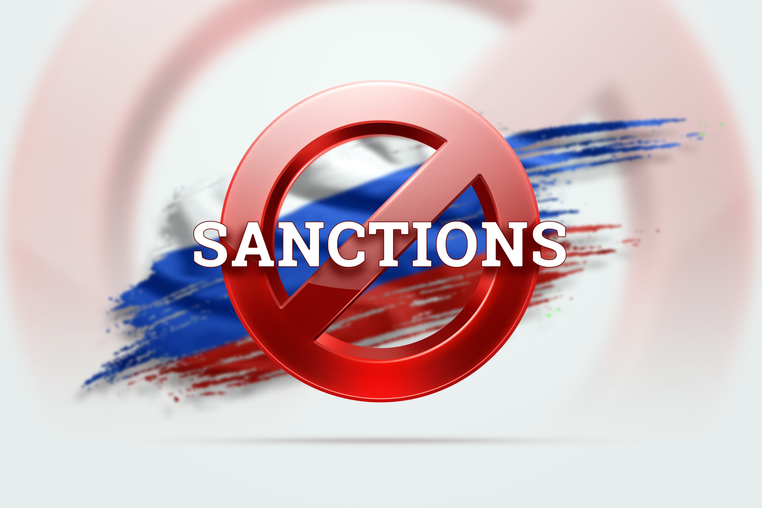 The Sign Of The Ban, The Inscription Of The Sanctions On The Flag Of Russia. Concept Of Sanctions And Embargo, Import Ban, Politics, 3d Rendering, 3d Illustration.